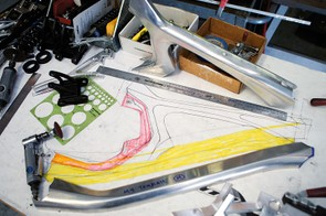 Prototype frame drawings – all new bikes are designed in house at Intense
