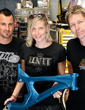 Chain Reaction Cycles riders Chris Kovarik and Claire Buchar are eager to test Jeff's new M9 prototype