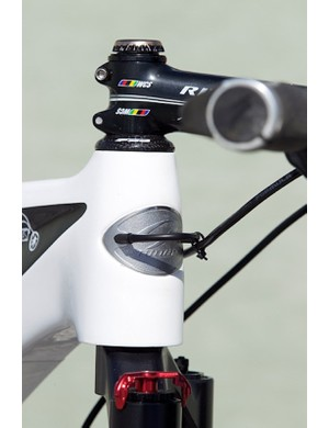 A short loop of derailleur housing plugs the internal shifter cable guides and provides a zip-tie mount for the left-hand rear brake housing