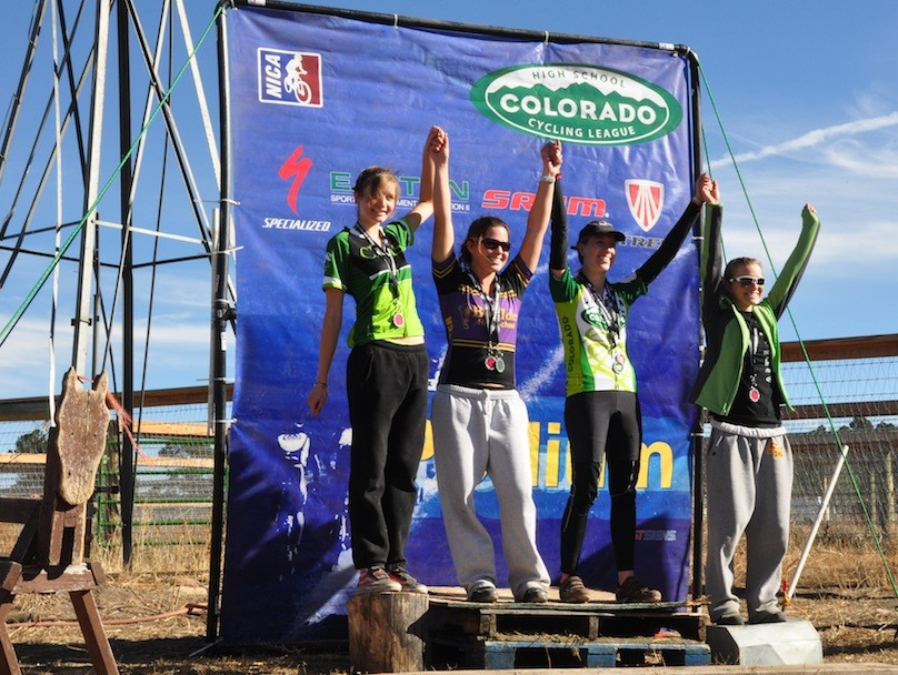 Junior Varsity Series winners take the podium. Dominque Fenichell, Boulder High, takes first; Rachel Cutler, Boulder High, 2nd; Kelsey Bohanan, Colorado Rocky Mountain School, 3rd and Ashleigh Weibel, 4th