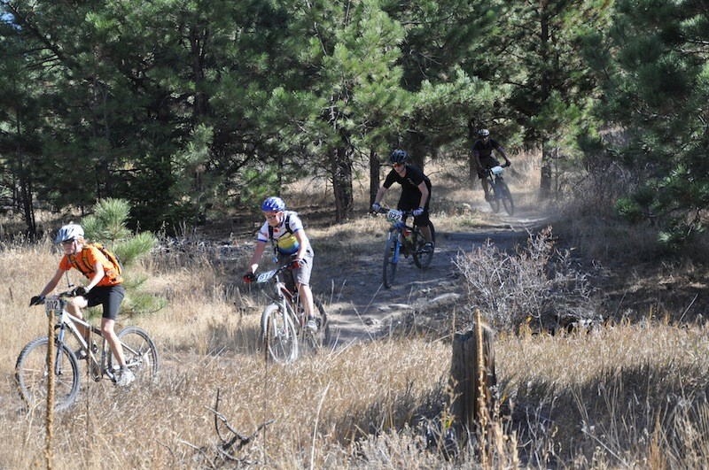 Freshman boys wind through the trees with Will McDonald from Laramie, WY leading the pack