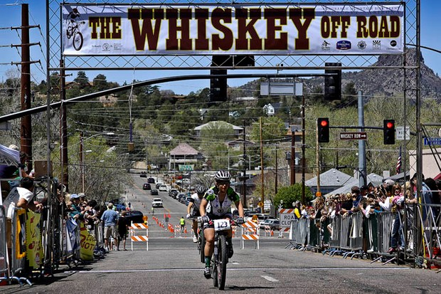 A rider finishes the 2010 Whiskey 50-Proof