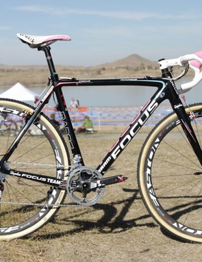 Chris Jones has the only custom Rapha-Focus custom team bike; the rest of the team's bikes are a production color