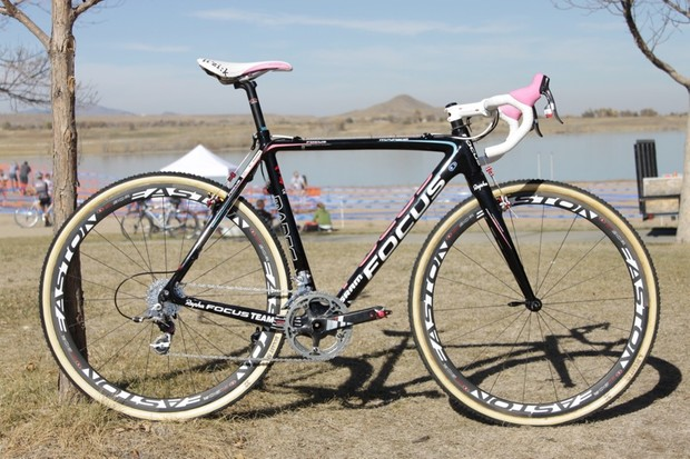 Chris Jones has the only custom Rapha-Focus custom team bike; the rest of the team's bikes are a production color