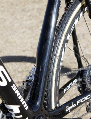 The massive seat tube features relief to properly align the front derailleur