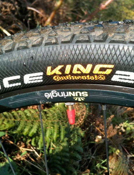 There's plenty of float in the fat Continental Race King tyres, although traction is limited, especially in wet/rooty/off-camber conditions. We've been rolling on a set of Sun Ringle Black Flag wheels for a while now and we're impressed so far. They're light enough to feel responsive without wobbling all over the place on off-camber or rutted sections. The low, lipped rim profile is licensed from Stan's NoTubes for lightweight strength and easy  tubeless ready running