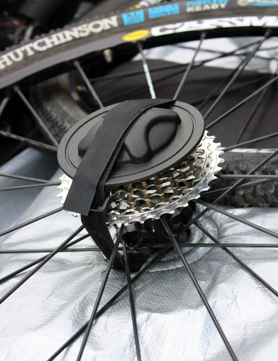 Included plastic hub protectors incorporate metal stubs to help keep them in place on quick-release wheels