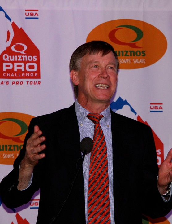 Governor-elect John Hickenlooper is on board with the Quiznos Pro Challenge