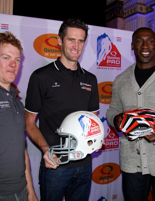 Tim Duggan of Garmin, Rory Sutherland of United Healthcare and former Broncos tight end Shannon Sharpe