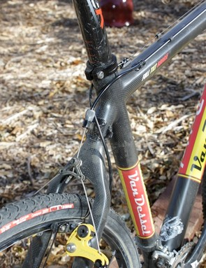 We experimented with the routing for the rear derailleur and brake cables