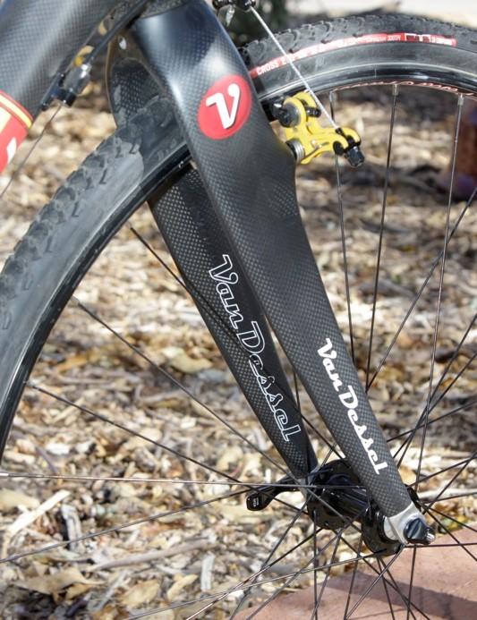 Van Dessel's massive fork legs ward off any hint of brake chatter