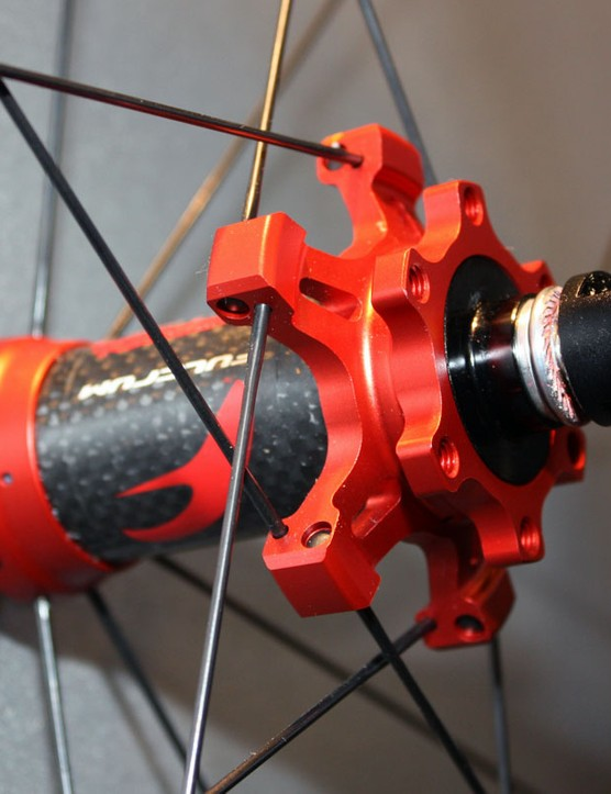 The new Fulcrum Red Carbon XRP hubs feature carbon center sleeves and larger-diameter flanges