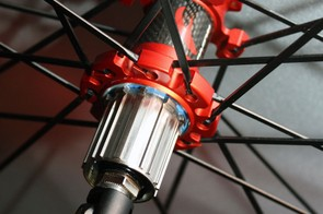 The 2011 Fulcrum Red Metal Zero rear hub gets a carbon center section and a titanium freehub body