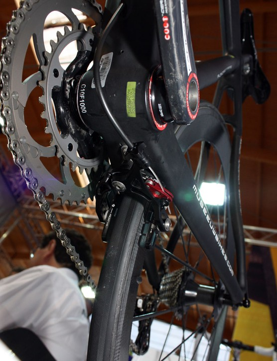The rear brake is tucked beneath the chainstays on the new Museeuw MF-XX