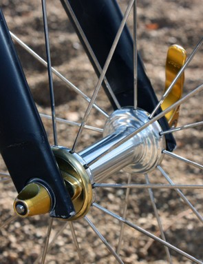 Gold end caps are used on the Zipp 303 Cyclocross hubs