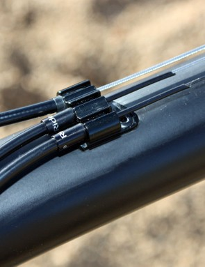 Top tube cable routing is used to help protect the lines from mud