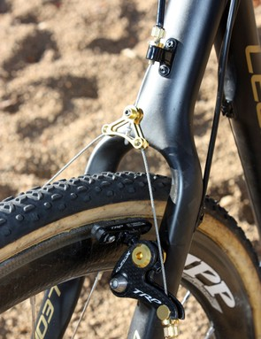 Clearance is generous at the seatstay wishbone