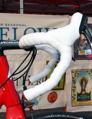 SRAM Red levers are tilted high on the carbon Specialized S-Works anatomic bar
