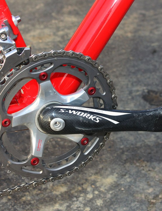Tight-ratio 'cross-specific SRAM chainrings are mounted to the Specialized carbon crankarms