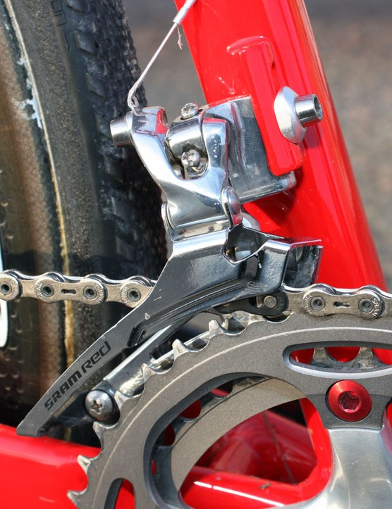Like most pros, Todd Wells (Specialized) opts for the steel caged version of SRAM's Red front derailleur