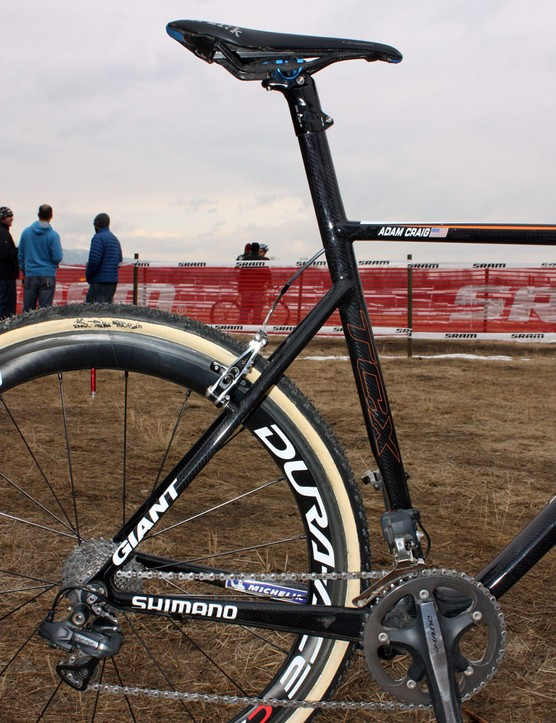 Despite the deep cross-section on the seat tube, Adam Craig (Rabobank-Giant) says the new carbon bike is more comfortable than his old aluminum one thanks to the built-in flex pattern