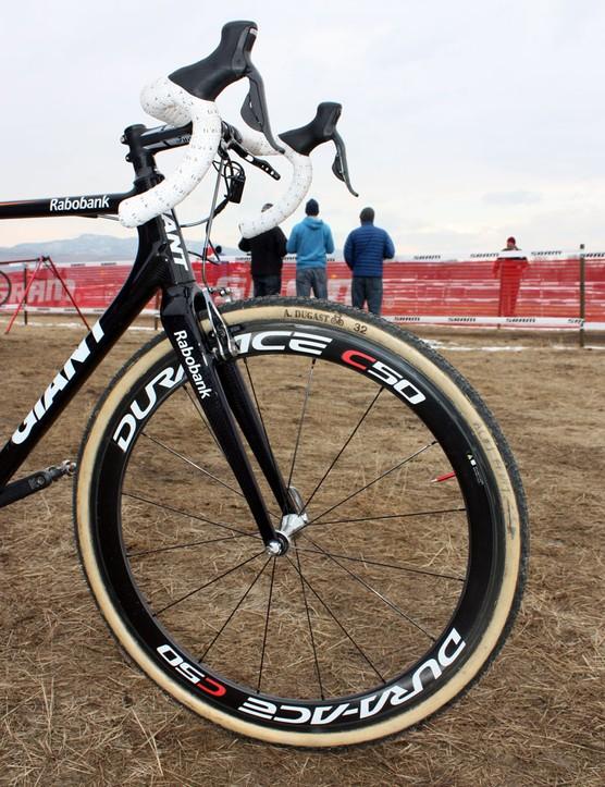 Custom Dugast tubulars are wrapped around 50mm-deep Shimano carbon wheels