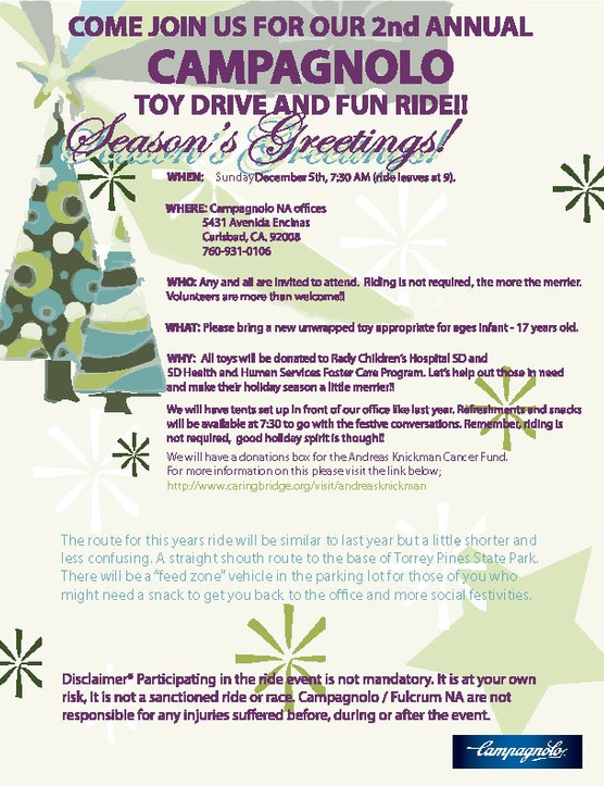 Campagnolo's 2nd annual toy drive and ride