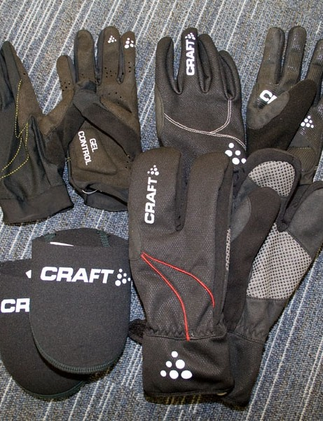 Clockwise from top left: Craft Control, Storm and Thermal Split gloves, plus neoprene toe covers