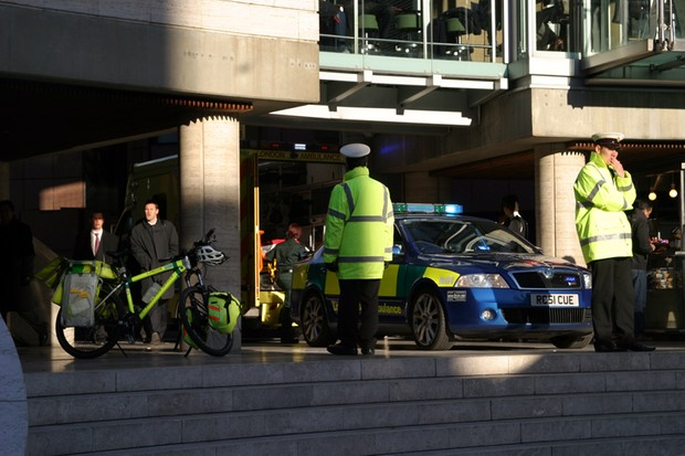 Emergency services attend the scene in central London