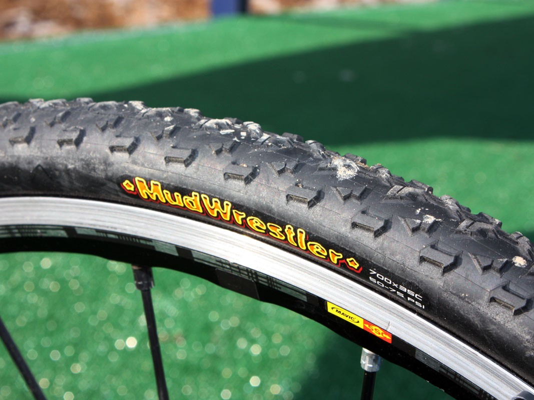 Georgia Gould (Luna) says these Maxxis Mud Wrestler clinchers offer excellent grip in the wet – and that she's able to run as little as 20psi up front