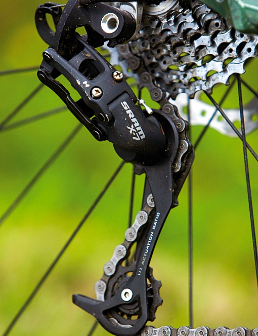 SRAM X.7 transmission works fine but isn't quite as smooth as Shimano's budget options