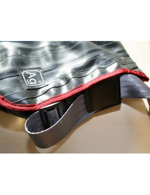 Alchemy Goods (Ag) use mainly recycled materials to make their products. In the case of this Haversack Bag (US$98/£98), that means old inner tubes and car seat belts. The number above the logo – in this case 73 – is the percentage (by weight) of recycled material that goes into each product
