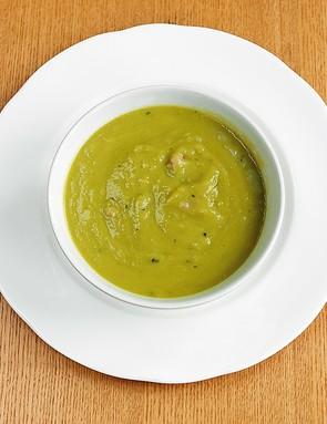 Watercress soup with crispy pancetta