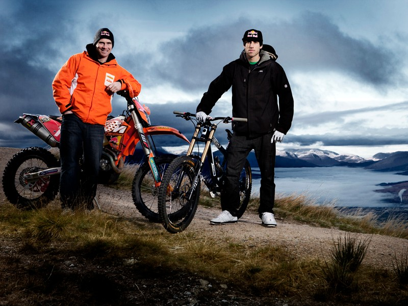 Downhill racer Gee Atherton took on enduro motorbike champion David Knight at Fort William in Scotland for a Red Bull challenge