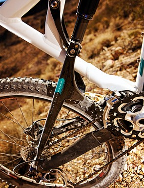 The pivotless carbon chainstays and a firm compression tune on the RP23 shock mean there's no wallow when you stamp on the pedals