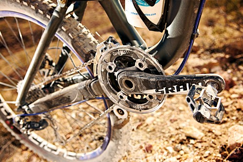 Damage-prone carbon is an odd choice for the crankset – it means you'll have to take more care on an otherwise hardy bike
