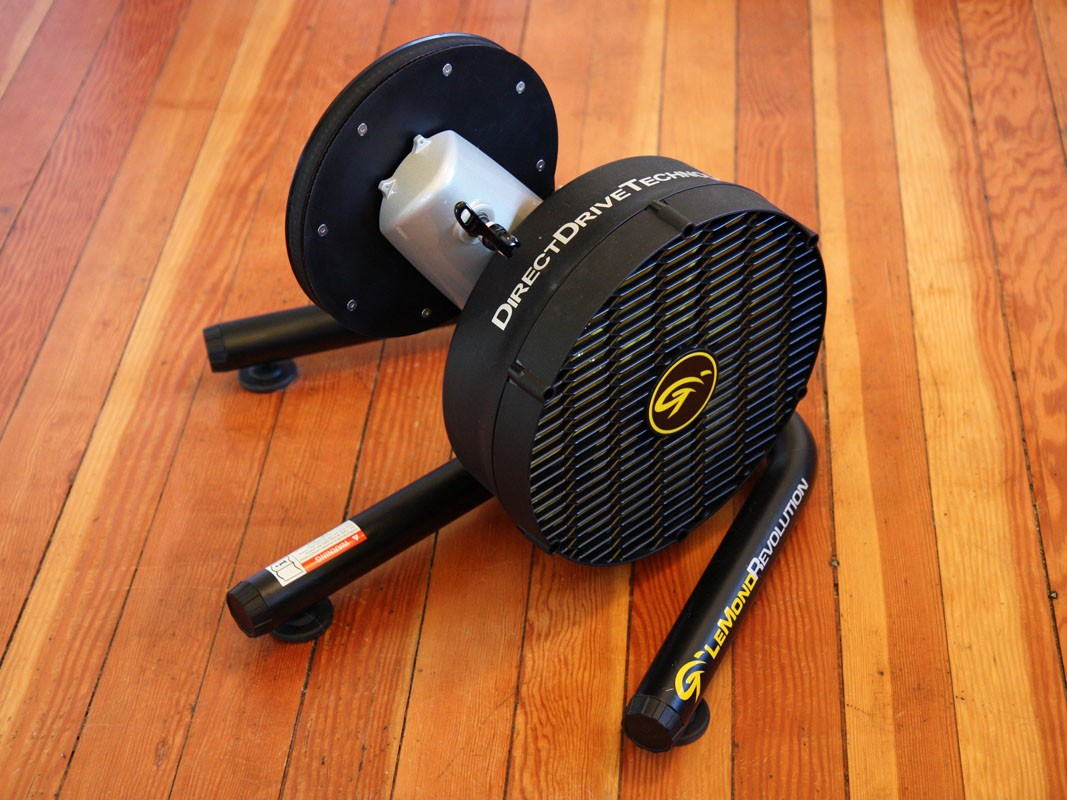 The Lemond Fitness Revolution indoor trainer ditches the traditional tire-on-roller setup in favor of its DirectDrive Technology