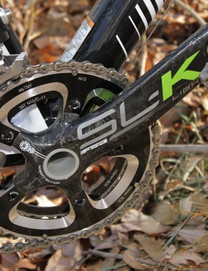 FSA's SL-K compact BB30 crank exploits the bottom bracket standard and is exploited with the SuperX neon graphics