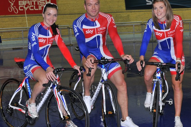 Top riders including (L-R) Victoria Pendleton, Sir Chris Hoy and Jess Varnish have benefited from British Cycling's link-up with Pinarello, but so have an estimated 20,000 young people, through Go-Ride community events