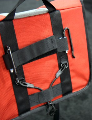 Timbuk2's pannier hardware adjusts for various rack shapes and sizes, and is easy to attach and remove