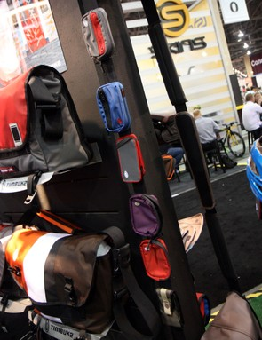 Timbuk2 bags can be customized not just with colors and embroidery but also with a wide range of on-strap pouches and pockets