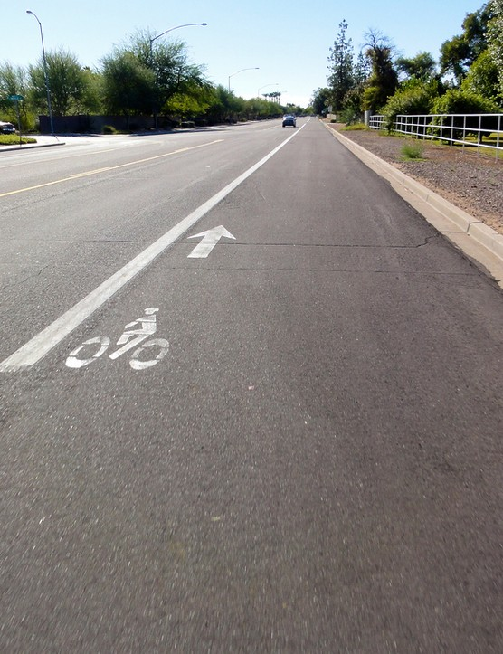 Many of Mesa's bike lanes are massive, which allows for greater separation between bikes and cars
