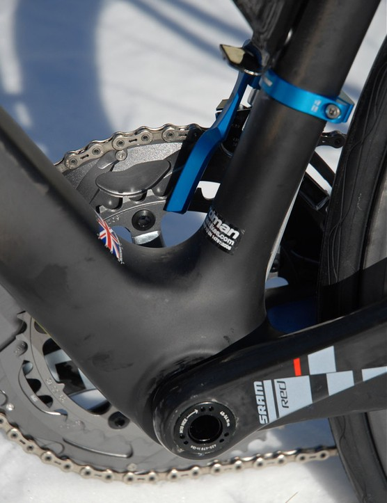 A chunky BB30 integrated bottom bracket anchors Charlie Wegelius's (UnitedHealthcare Pro Cycling) Boardman Elite SLR.