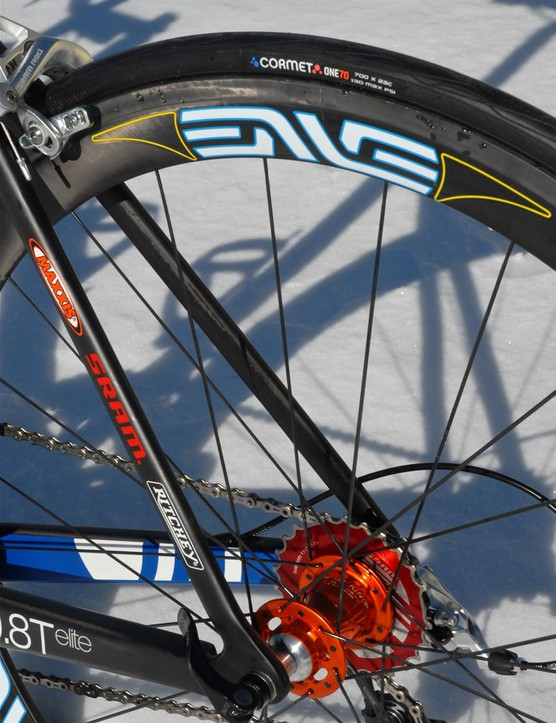 While much of the pro peloton rolls on tubulars, UnitedHealthcare Pro Cycling will run Maxxis clinchers mounted on Enve Composites 45mm-deep carbon rims.
