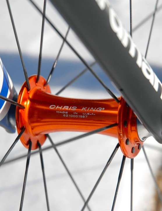 Team wheels rotate on Chris King's latest R45 road hubs.