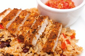 Cajun turkey steaks with rice and beans