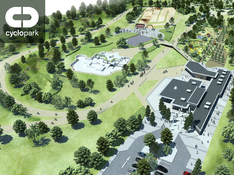 Artist's impression of the new Cyclopark centre planned for Kent