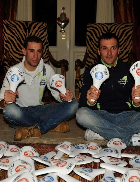 Vincenzo Nibali and Ivan Basso autograph limited edition Fizik Antares saddles that are to be sold to raise funds for charity work in Africa