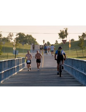 The Katy Trail is heavily used by bicyclists, runners and other users
