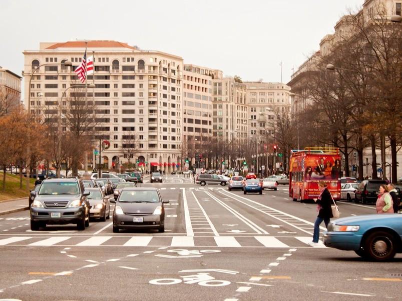 Bike lanes on Washington, DC's Pennsylvania Avenue